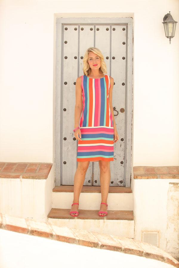 Pomodoro CANDY STRIPE Shift  Dress 11912